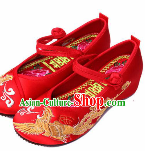Chinese Traditional Embroidered Phoenix Shoes Opera Red Satin Shoes Wedding Shoes Hanfu Princess Shoes for Women
