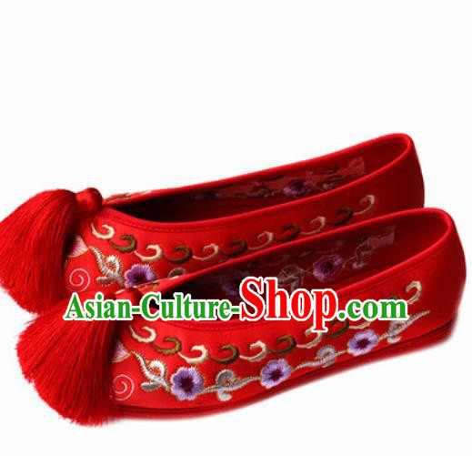 Chinese Traditional Embroidered Plum Shoes Opera Red Satin Shoes Wedding Shoes Hanfu Princess Shoes for Women