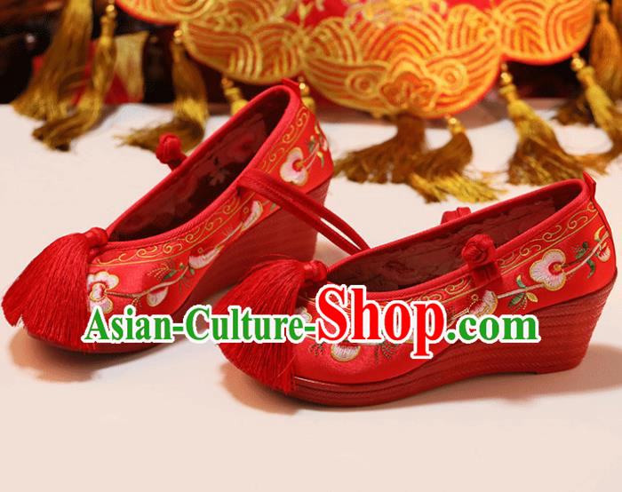 Chinese Traditional Shoes Opera Wedding Shoes Hanfu Princess Shoes Embroidered Mandarin Duck Red Shoes for Women