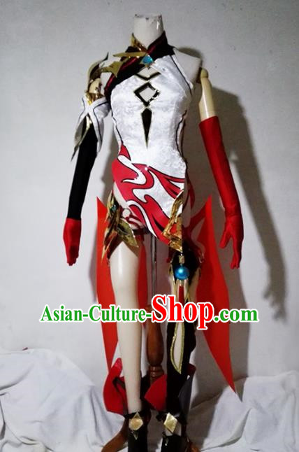 Chinese Traditional Cosplay Female Warrior Costume Ancient Swordsman Hanfu Dress for Women