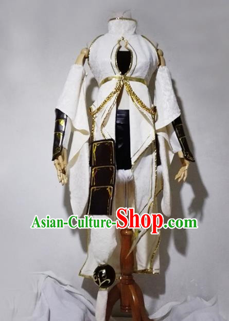 Chinese Traditional Cosplay Female Warrior White Costume Ancient Swordsman Hanfu Dress for Women