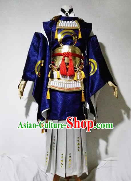 Chinese Traditional Cosplay Female Warrior Royalblue Costume Ancient Swordsman Dress for Women