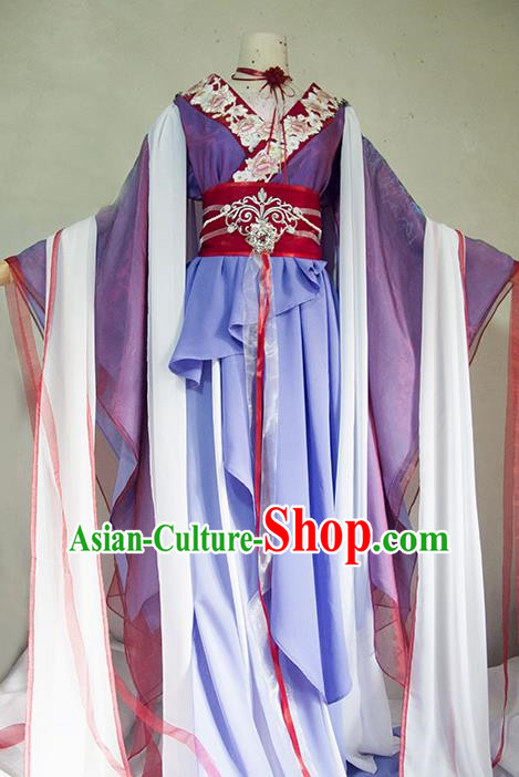 Chinese Traditional Cosplay Queen Purple Costume Ancient Princess Swordsman Dress for Women