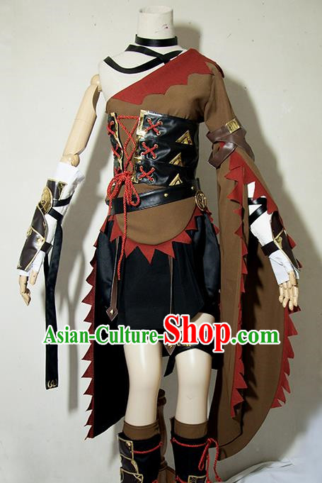 Chinese Traditional Cosplay Female Knight Brown Costume Ancient Swordsman Dress for Women