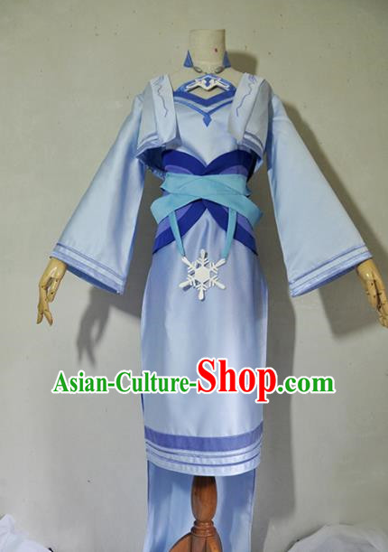 Chinese Traditional Cosplay Young Lady Costume Ancient Swordsman Blue Dress for Women