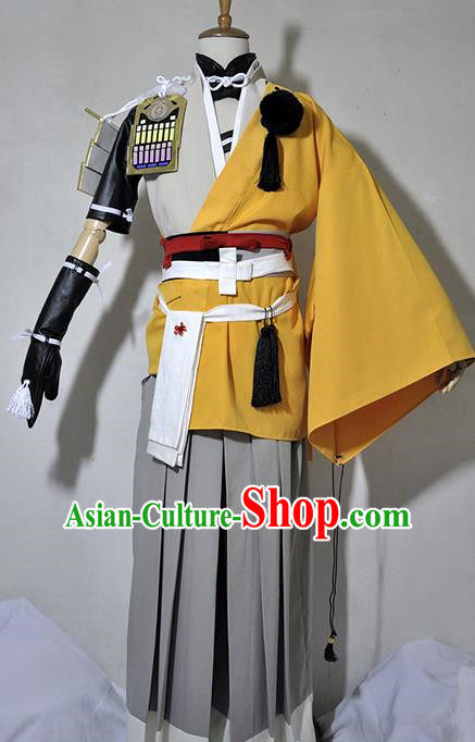 Chinese Traditional Cosplay Young Hero Yellow Costume Ancient Swordsman Hanfu Clothing for Men