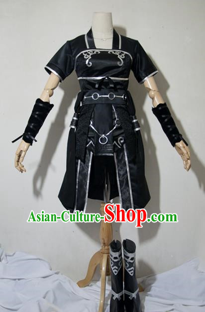 Chinese Traditional Cosplay Young Lady Costume Ancient Female Swordsman Black Dress for Women