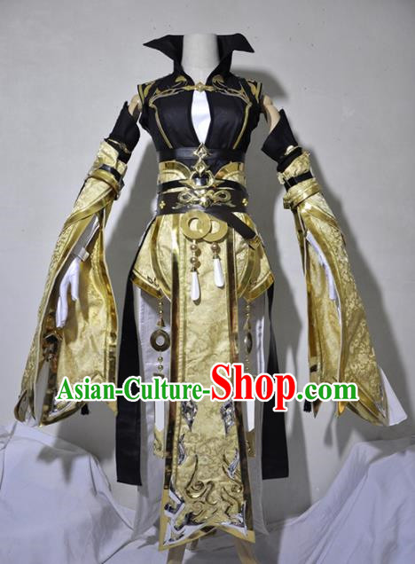 Chinese Traditional Cosplay Knight Costume Ancient Queen Swordsman Golden Dress for Women