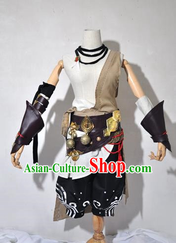 Chinese Traditional Cosplay Pauper Young Knight Costume Ancient Swordsman Hanfu Clothing for Men