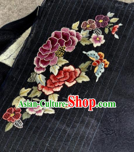 Traditional Chinese Black Satin Classical Embroidered Peony Butterfly Pattern Design Brocade Fabric Asian Silk Fabric Material