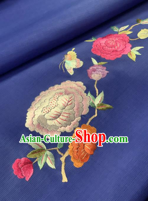 Traditional Chinese Blue Satin Classical Embroidered Peony Pattern Design Brocade Fabric Asian Silk Fabric Material