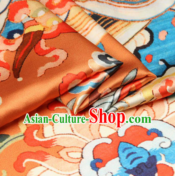 Chinese Traditional Classical Cloud Dragon Pattern Golden Brocade Damask Asian Satin Drapery Silk Fabric