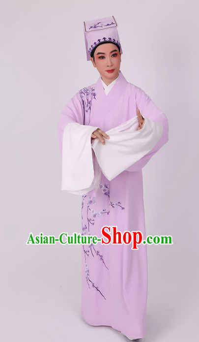 Chinese Traditional Beijing Opera Niche Costume Ancient Scholar Childe Lilac Robe for Men