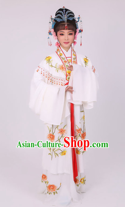 Chinese Traditional Peking Opera Queen Diva Costume Ancient Empress Embroidered White Dress for Women