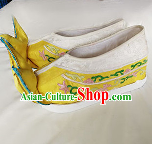 Chinese Traditional Beijing Opera Queen Embroidered Shoes Ancient Empress Shoes for Adults