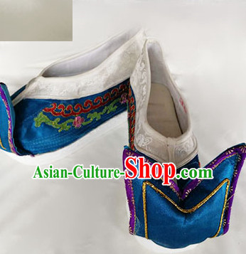 Chinese Traditional Beijing Opera Queen Blue Embroidered Shoes Ancient Empress Hanfu Shoes for Adults