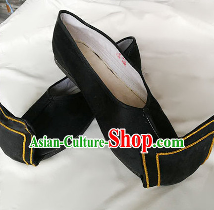 Chinese Traditional Beijing Opera Takefu Black Shoes Ancient Swordsman Hanfu Cloth Shoes for Adults