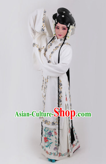 Chinese Traditional Peking Opera Actress Princess White Dress Ancient Court Lady Embroidered Costume for Women