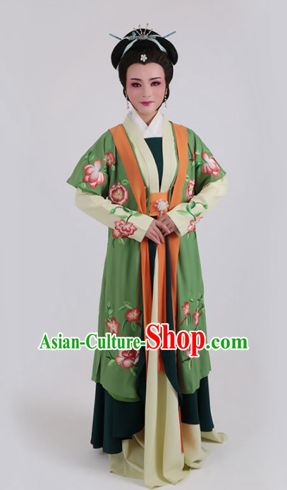 Chinese Traditional Peking Opera Actress Queen Green Dress Ancient Court Lady Embroidered Costume for Women