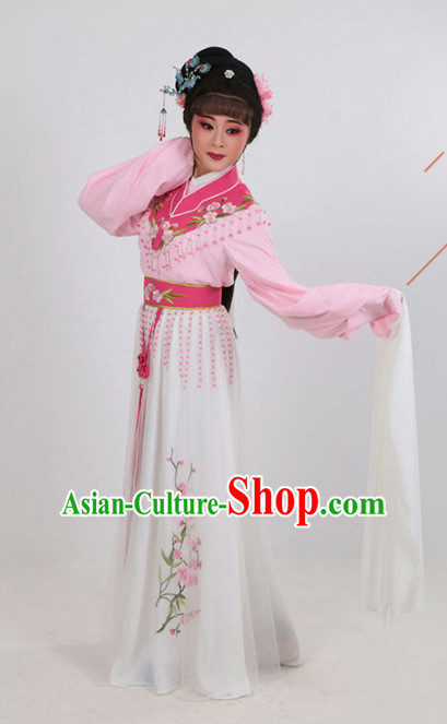 Chinese Traditional Peking Opera Actress Pink Water Sleeve Dress Ancient Court Lady Embroidered Costume for Women