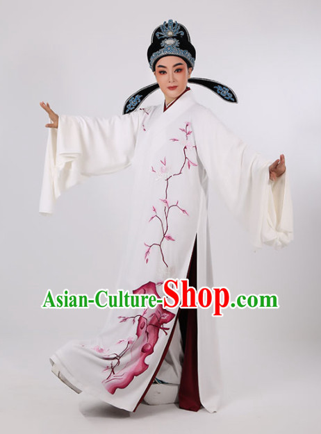 Chinese Traditional Beijing Opera Niche Costume Ancient Scholar Childe White Robe for Men