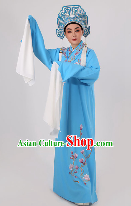 Chinese Traditional Beijing Opera Niche Blue Robe Ancient Scholar Childe Costume for Men