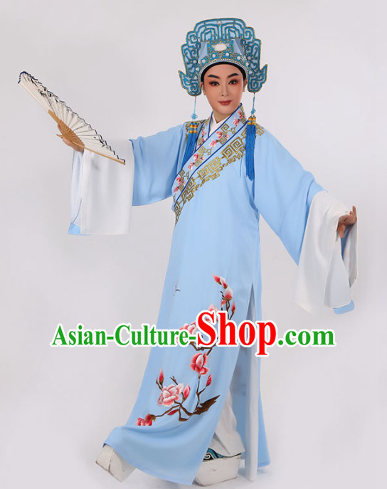 Chinese Traditional Beijing Opera Niche Light Blue Robe Ancient Scholar Childe Costume for Men