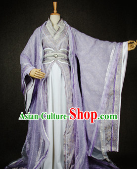 Chinese Traditional Cosplay Nobility Childe Lilac Costume Ancient Swordsman Hanfu Clothing for Men