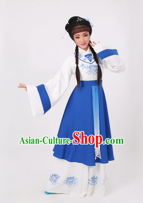 Chinese Traditional Peking Opera Actress Blue Dress Ancient Nobility Lady Embroidered Costume for Women
