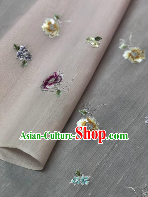 Traditional Chinese Pink Silk Fabric Classical Embroidered Flowers Pattern Design Brocade Fabric Asian Satin Material