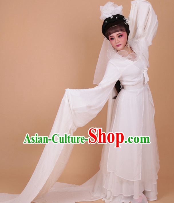 Chinese Traditional Peking Opera Actress White Embroidered Water Sleeve Dress Ancient Peri Princess Costume for Women