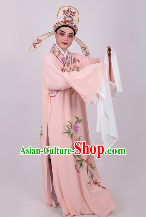 Chinese Traditional Beijing Opera Niche Embroidered Pink Robe Ancient Number One Scholar Costume for Men
