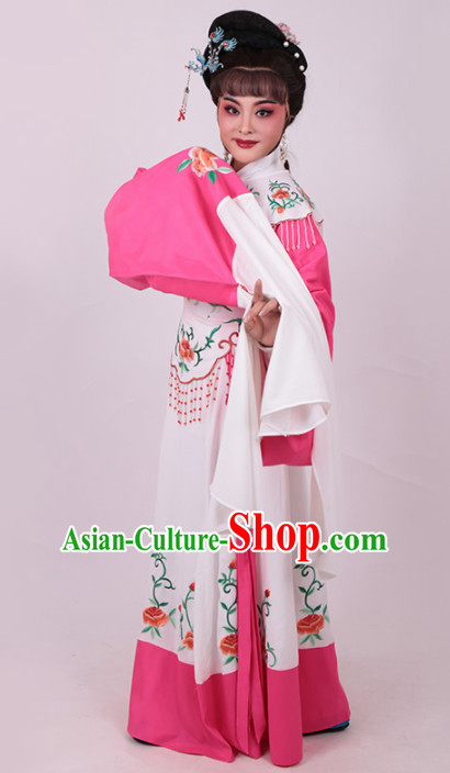 Chinese Traditional Peking Opera Actress Embroidered Water Sleeve Dress Ancient Peri Princess Costume for Women