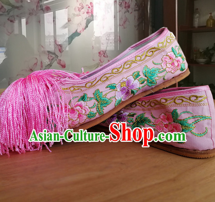 Chinese Traditional Beijing Opera Diva Pink Satin Shoes Ancient Princess Hanfu Embroidered Shoes for Adults