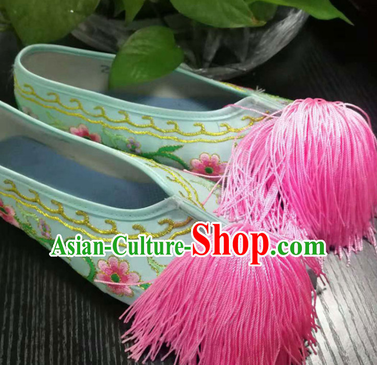 Chinese Traditional Beijing Opera Diva Green Satin Shoes Ancient Princess Hanfu Embroidered Shoes for Adults