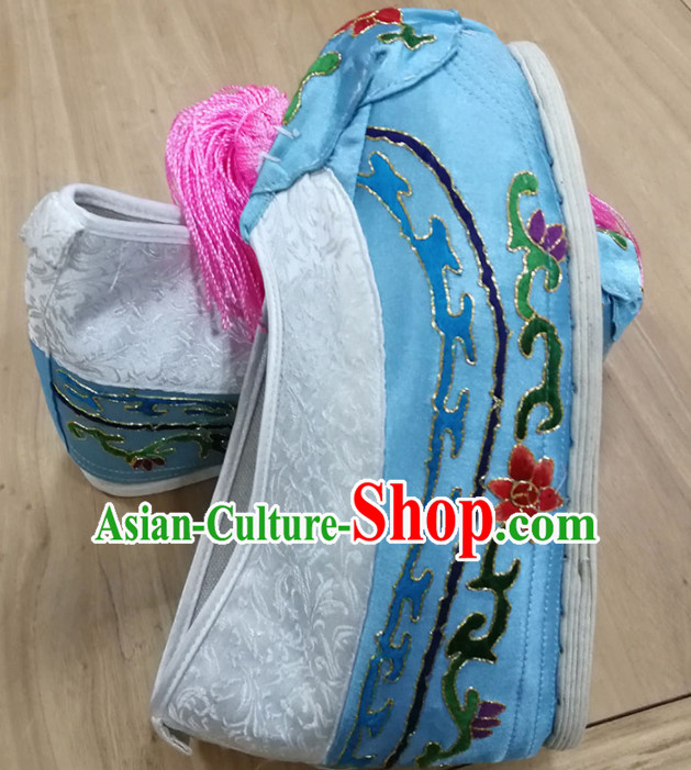 Chinese Traditional Beijing Opera Diva Blue Satin Shoes Ancient Princess Hanfu Embroidered Shoes for Adults
