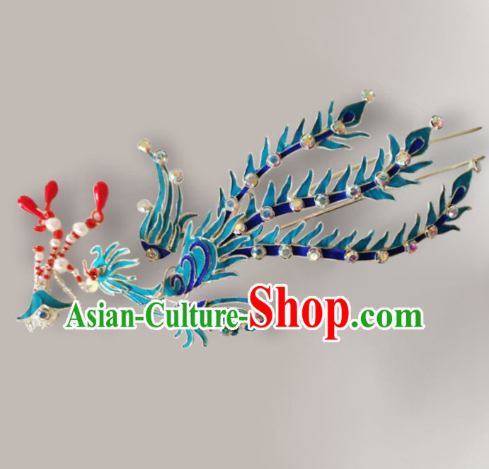 Chinese Ancient Court Princess Hairpins Phoenix Hair Clip Traditional Beijing Opera Diva Hair Accessories for Adults