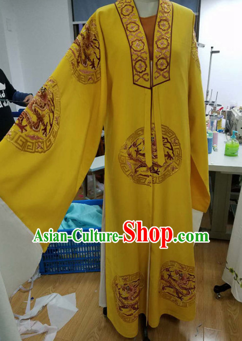 Chinese Traditional Beijing Opera Niche Scholar Yellow Robe Ancient Nobility Childe Costume for Men