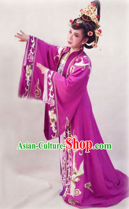 Chinese Traditional Peking Opera Diva Purple Dress Ancient Imperial Empress Embroidered Costume for Women
