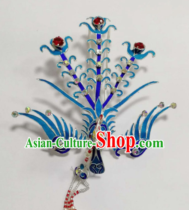 Chinese Ancient Court Princess Blueing Phoenix Hairpins Traditional Beijing Opera Diva Hair Accessories for Adults