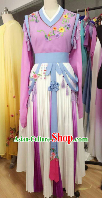Traditional Chinese Peking Opera Diva Purple Dress Ancient Court Maid Embroidered Costume for Women