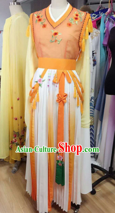 Traditional Chinese Peking Opera Diva Orange Dress Ancient Court Maid Embroidered Costume for Women