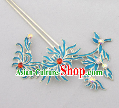 Chinese Ancient Court Princess Red Crystal Chrysanthemum Hairpins Traditional Beijing Opera Diva Hair Accessories for Adults