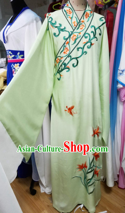 Chinese Traditional Beijing Opera Niche Embroidered Light Green Robe Ancient Scholar Nobility Childe Costume for Men