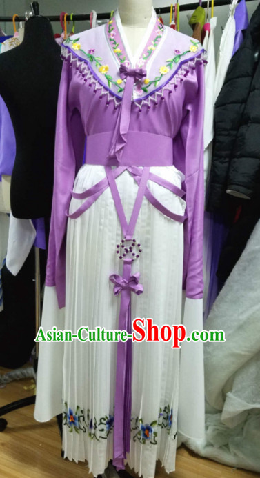 Chinese Traditional Opera Court Princess Purple Dress Ancient Beijing Opera Diva Embroidered Costume for Women