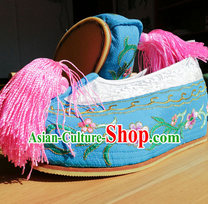 Chinese Ancient Princess Hanfu Blue Embroidered Shoes Traditional Beijing Opera Diva Blood Stained Shoes for Adults