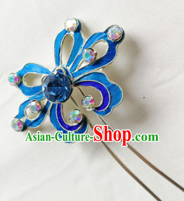 Chinese Ancient Court Princess Blue Crystal Hairpins Traditional Beijing Opera Diva Hair Accessories for Adults