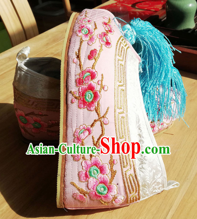 Chinese Ancient Princess Hanfu Pink Embroidered Shoes Traditional Beijing Opera Diva Blood Stained Shoes for Adults