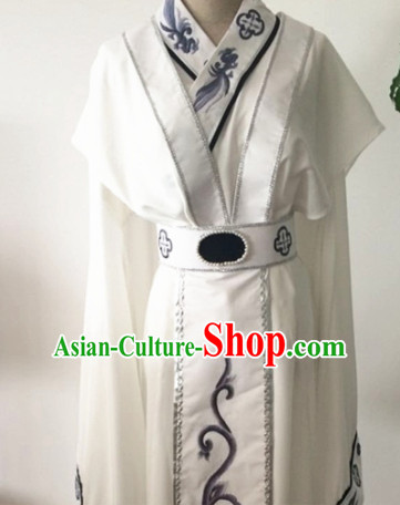 Chinese Traditional Opera Court Queen White Dress Ancient Beijing Opera Diva Embroidered Costume for Women