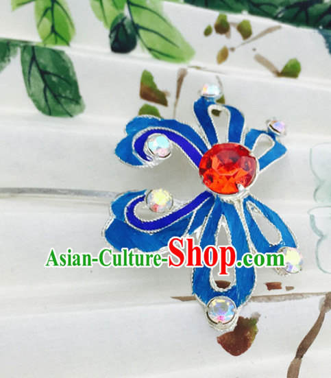 Chinese Ancient Court Princess Red Crystal Hairpins Traditional Beijing Opera Diva Hair Accessories for Adults
